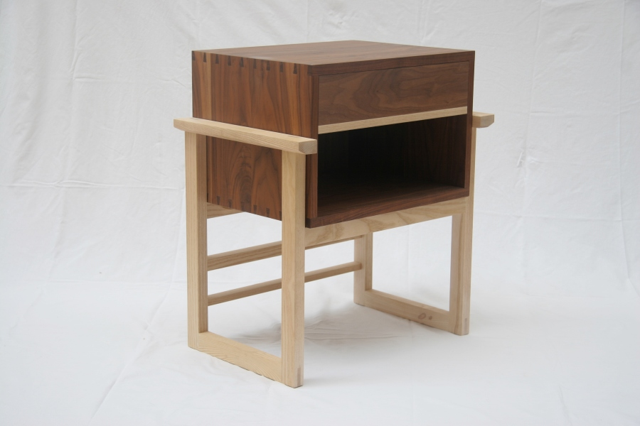 Solid walnut and ash bedside cabinet, made in London