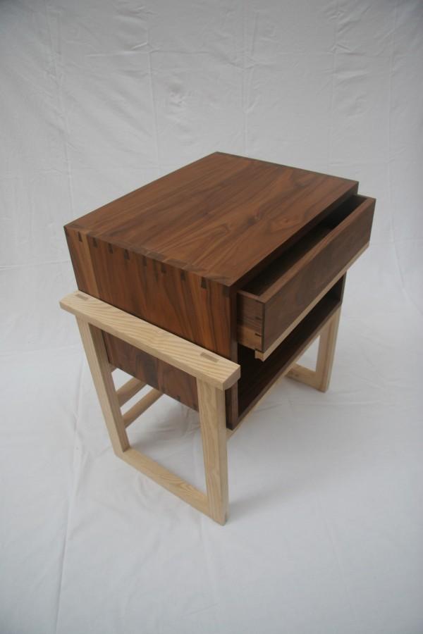 Handmade walnut and ash bedside cabinet