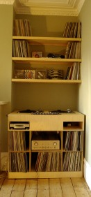 DJ console table with alcove shelving