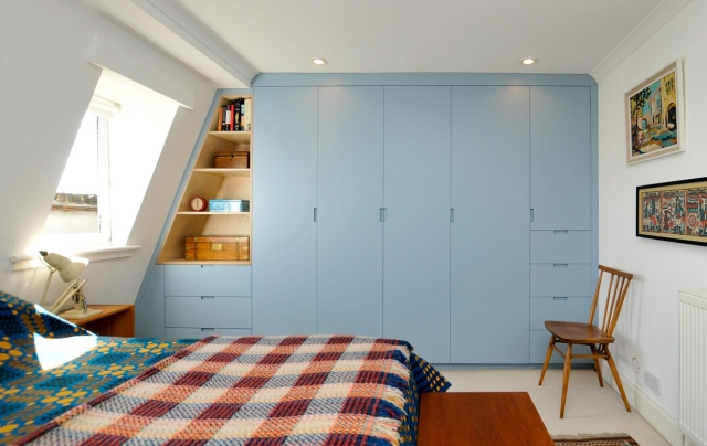 Dove blue attic wardrobes
