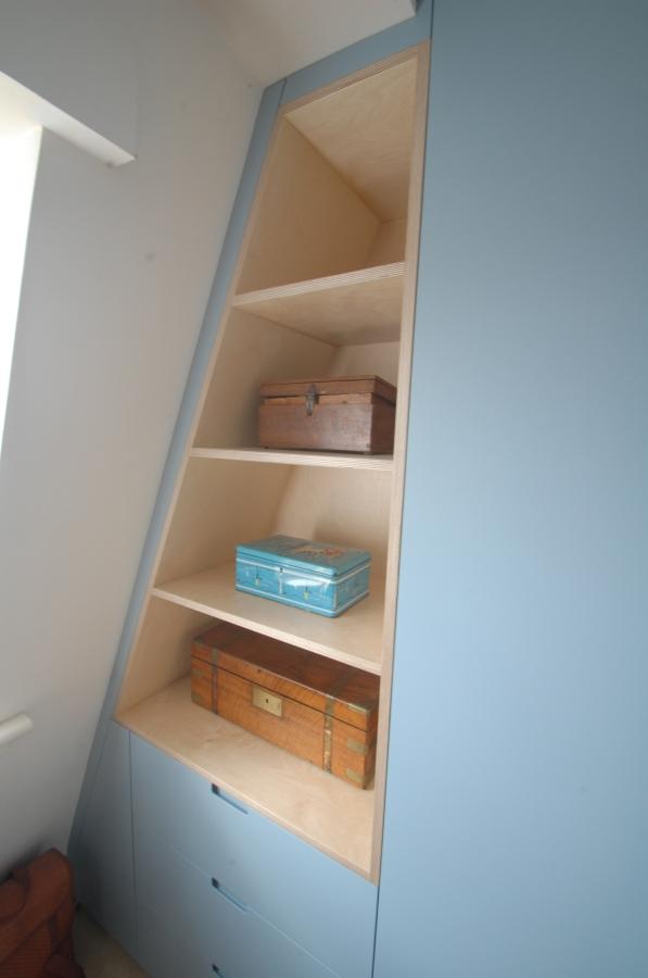 Sloping attic bookshelf, Hackney