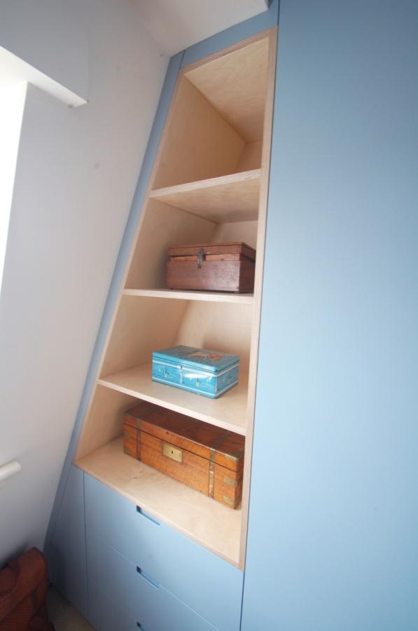 Bespoke angled attic wardrobe, Hackney