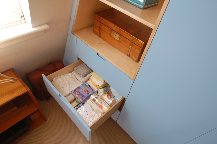 Bespoke birch plywood wardrobe drawers, Hackney
