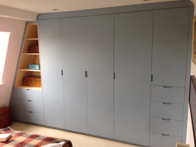 Dove Blue lacquered wardrobes in Clapton E5