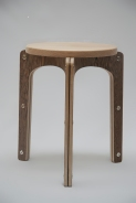 Alvar Aalto style bent plywood stool, made in Hackney