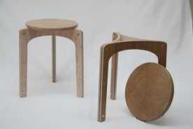 Handmade bent plywood stacking stools