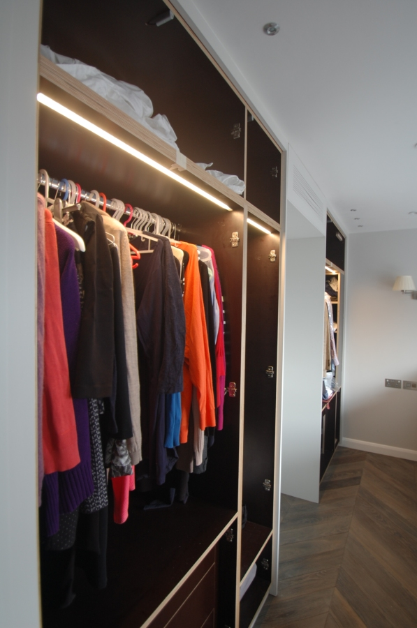 Bespoke LED wardrobe lighting, Belgravia