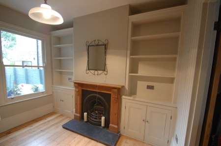 Bespoke Victorian style alcove cabinet and bookcase
