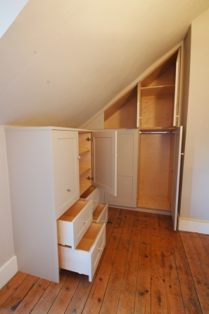 Handmade eaves wardrobe and drawer unit, Walthamstow