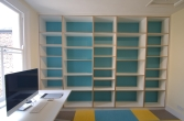 Bespoke contemporary birch plywood office shelving