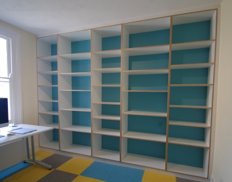 Bespoke melamine faced birch plywood office shelving