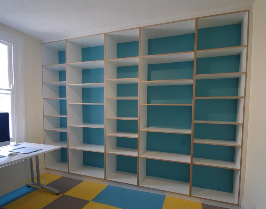 Bespoke melamine faced birch plywood office shelving